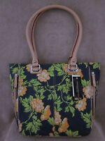 Tignanello T72020 Bed Of Roses Yellow & Dark Blue Leather Tote Handbag Purse