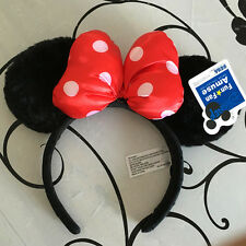 Disney Parks Minnie Mouse Ears Headband Black Red Bow Party Favor Costume Mickey