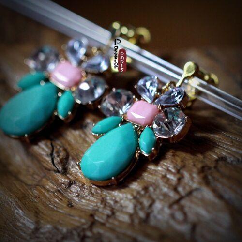 Boucles d/'Oreilles Clips Goutte Fleur Vert Cristal  Retro Original Soirée E6