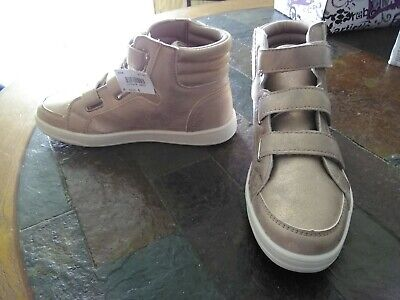 BRASH GIRL/'S NIB SIZE 3 1//2 HIGH TOP SNEAKERS SILVER hook and loop fasteners