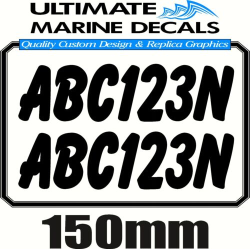 Boat Rego 150mm Registration Sticker Decal Set of 2