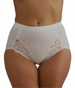 ef8263a79b8cc Plus Size Ladies White Black Lace Control brief hold in shapewear ...