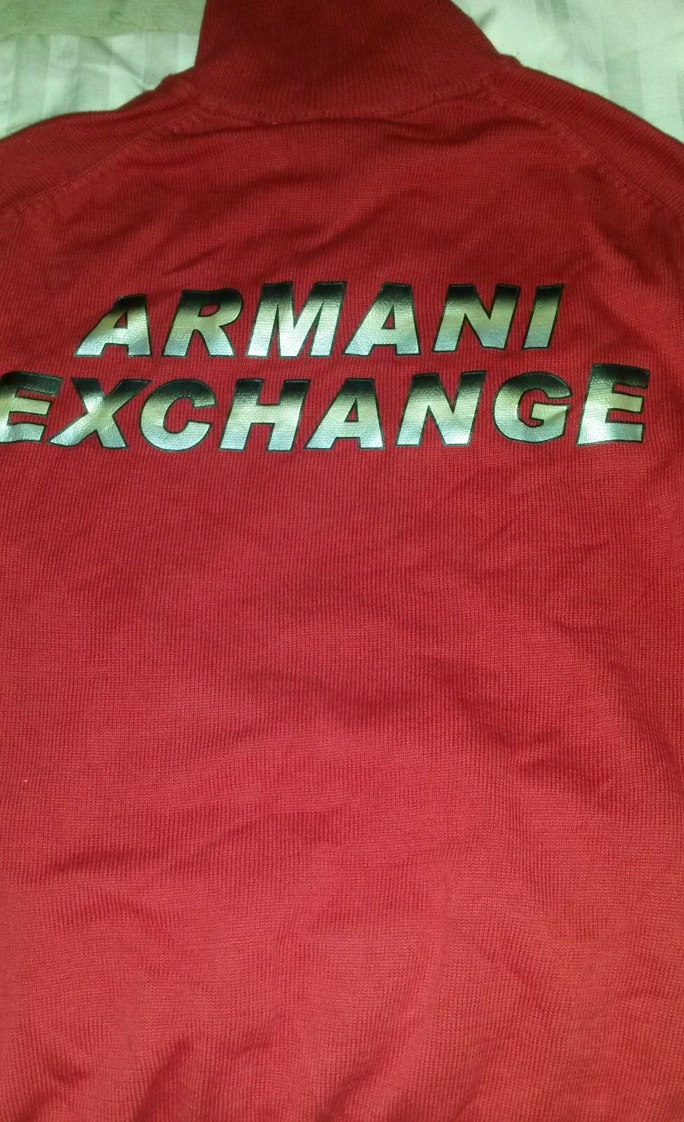 NWT vintage AX Armani Exchange Mens RED Zip Up Knit Sweater SZ S 100% Cotton