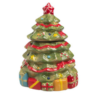 """Christmas Tree 8.5"""" Ceramic Holiday Small Cookie Jar Lidded Candy Dish Green Red"""