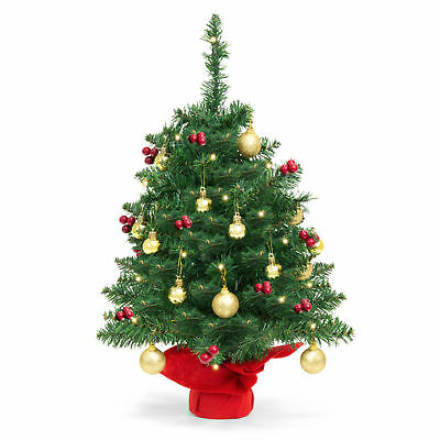 BCP 22in Tabletop Christmas Tree w/ Lights, Berries, Ornaments - Green