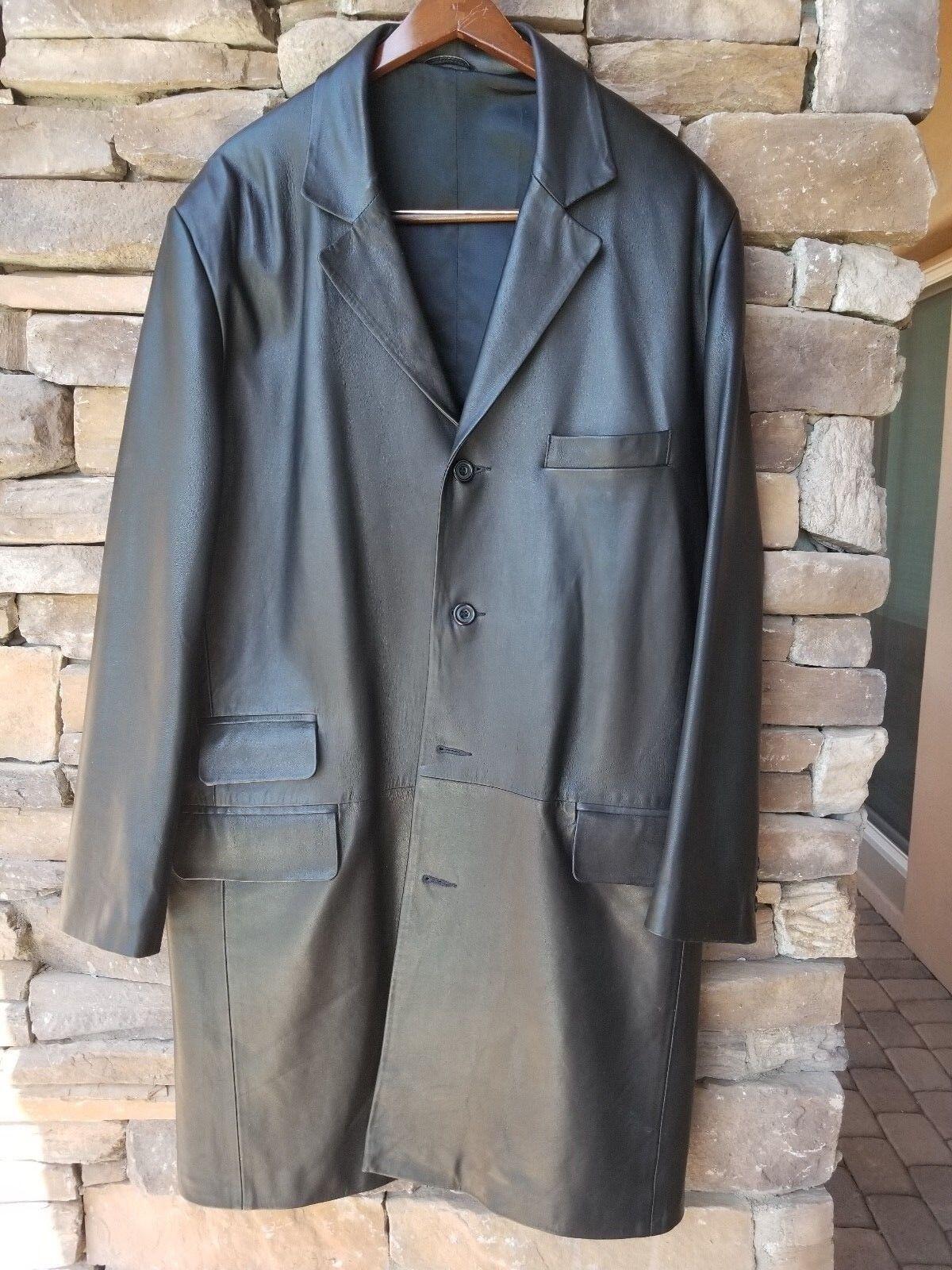 Men's Fine Lambskin Leather, 3 4 Length Coat