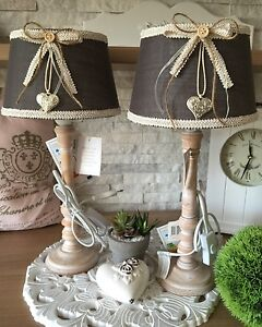 tischlampe lampenschirm landhaus shabby chic stoff holz braun schleife vintage ebay. Black Bedroom Furniture Sets. Home Design Ideas