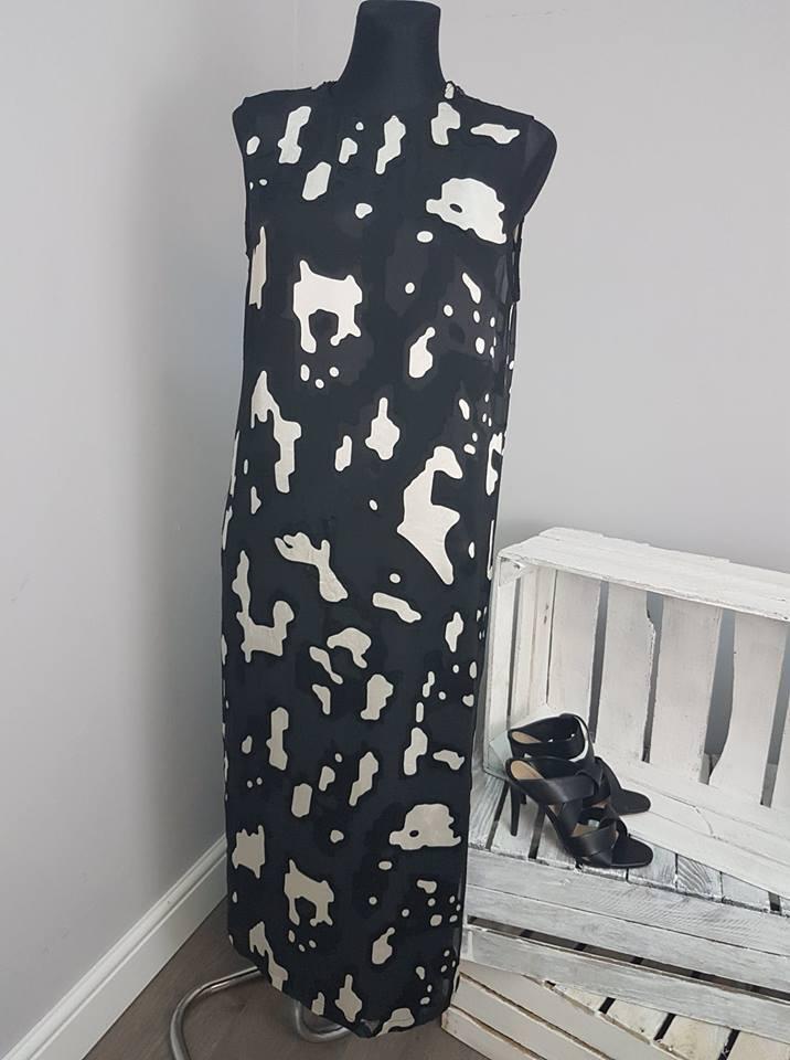 ASOS WHITE Silk Blend Animal Devore Column Dress (AS27 20)