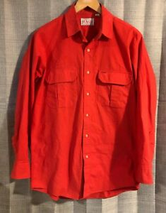 Mens-Vintage-ORVIS-Red-Cotton-Button-Front-Shirt-Made-in-USA-Medium-B12