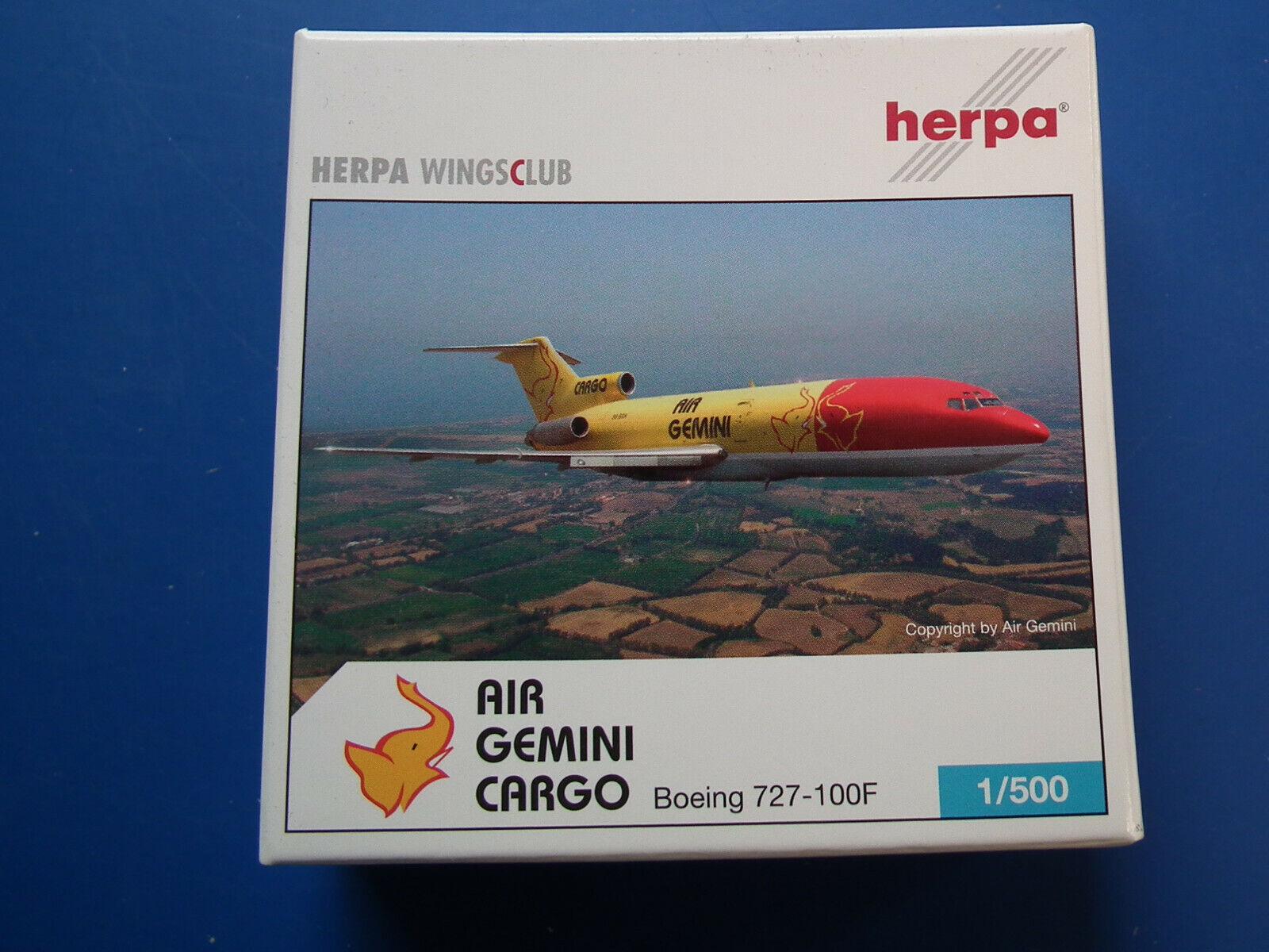 Herpa Wings 1 500 500 500 Boeing 727-100F Air Gemini Cargo Limited auf 1250 -0910 OVP-  | Hohe Qualität und geringer Aufwand  603ee0