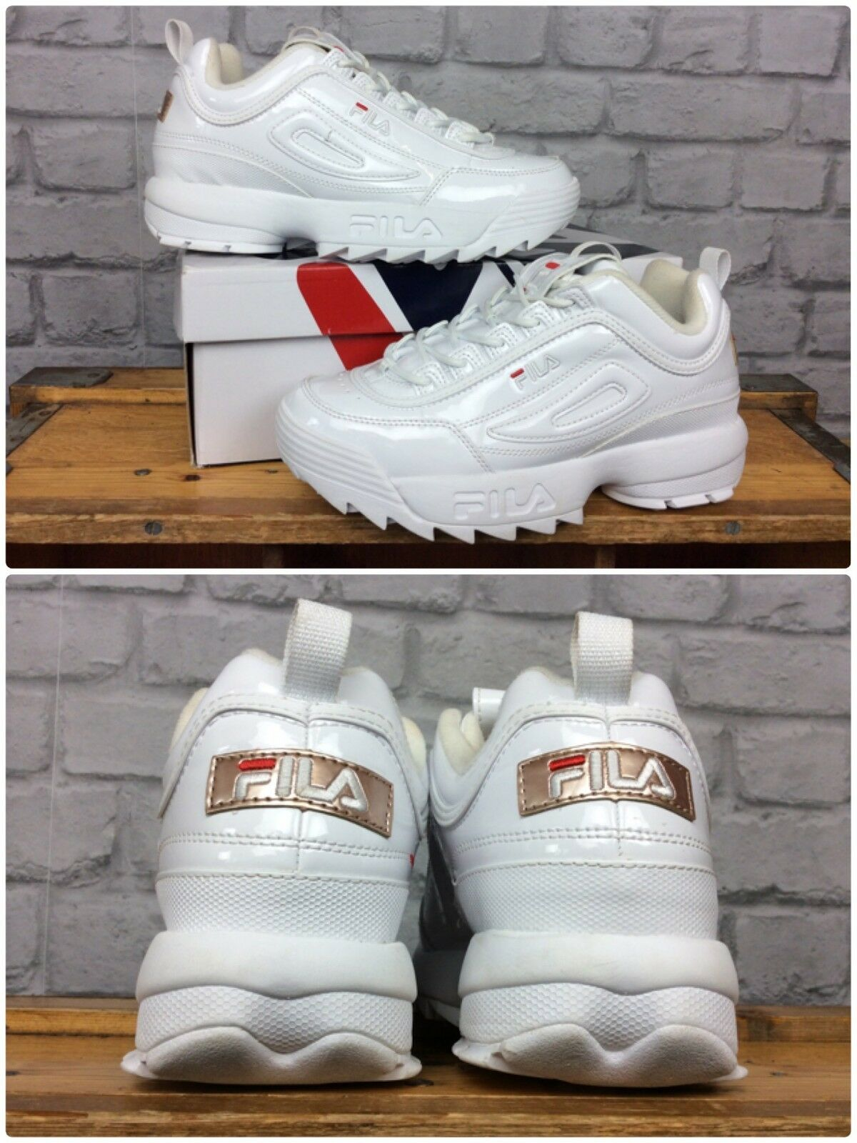 FILA LADIES UK 5 EU 38.5 DISRUPTOR II WHITE ROSE PATENT ROSE WHITE GOLD CHUNKY TRAINERS 2ca2b1