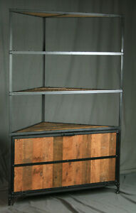 Image Is Loading Handmade Rustic Industrial Corner Hutch Laundry Unit Display