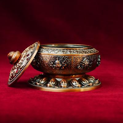 Asian Antiques Rapture Incensiere Massiccia Buddha Räucher Scatola Buddhistischen Altare In Ottone D16 To Have A Unique National Style