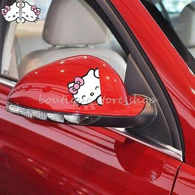 2pcs Hello Kitty cartoon Rearview mirror vehicle random car stickers wall decals