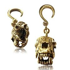 SINGLE 6g 4MM BEAR SKULL WEIGHTS BRASS PLUG EARRING GAUGES HOOPS LONG PLUGS