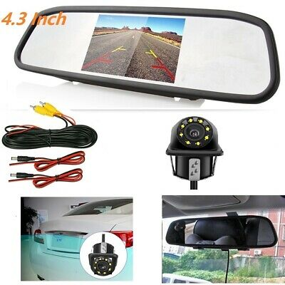 "4.3/"" Rear View Kit Mirror Monitor /& Waterproof Reverse Car Backup HD CCD Camera"