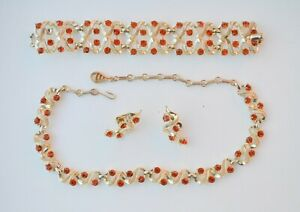 Vintage Topaz Beaded Necklace and Earrings Set