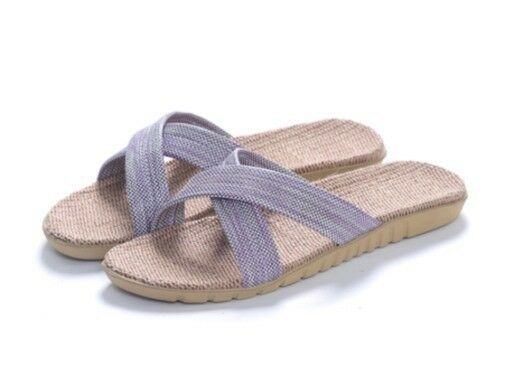 Natural Comfortable Sandals Flax  Sandals Comfortable Slippers -wemen (purple,EU34-35,US-6) a75f18