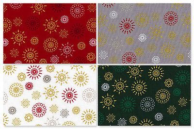 100/% Cotton Fabric Metre or Fat Quarter Advent Christmas Festive Craft Red White