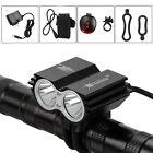Powerful 6000LM 2x XML T6 LED Bike Bicycle MTB Headlight Light Rear Lamp 4*18650
