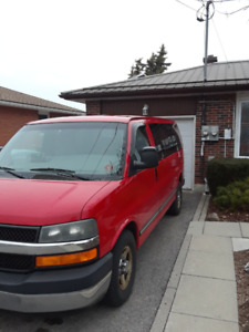 Red Chevy Van 2003