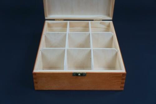 1x Alder Wooden Tea Box Tea Caddy Kitchen Chest 9 Compartments Storage H9o