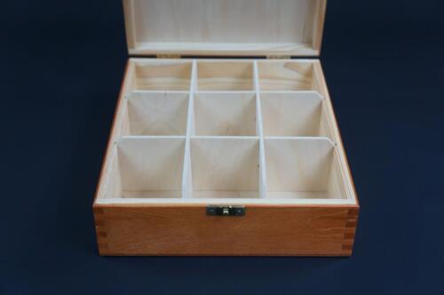 1x Alder Wooden Tea Box Tea Caddy Kitchen Chest 9 Compartments Storage H9o