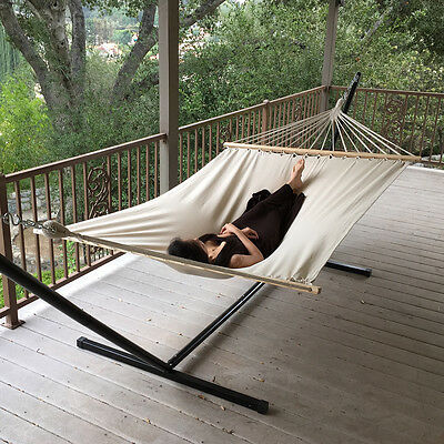 New Outdoor Swing Chair Hanging Camping Cotton Double Bed Patio Canvas Hammock