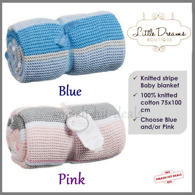 New Little Dreams Boutique baby knitted stripe blanket 75x100cm