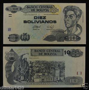 UNC Bolivia Paper Money 10 Bolivianos 1986 2012