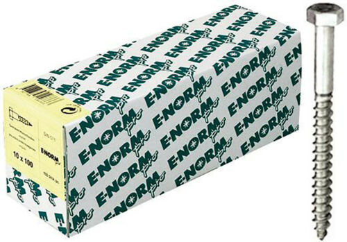 E-NORMpro Sechskant Holzschrauben DIN 571 ST galZn 6x70 HP Inh. 200 Stück