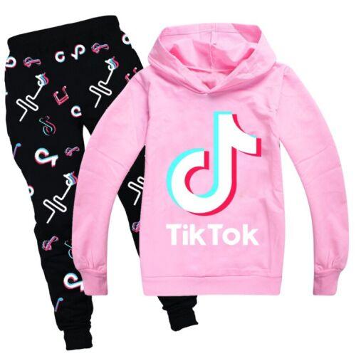 Kids Tracksuit Long Sleeve Hoodies Tops+Pants Boys Girls Age 2-13 Years