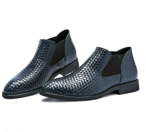 Men's Pointed Toe Chelsea Ankle Boots Casual Weave Texture Shoes Business Dress