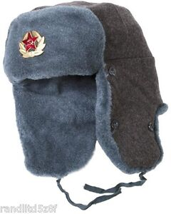 USSR Vintage Russian Army Ushanka Winter Hat, with Soviet Army Soldier Insignia