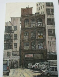 LARGE-ROBERT-CARRERE-CHUNKY-PAINTING-MODERNIST-NY-URBAN-CITY-STREETS-AMERICANA