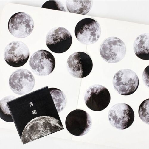 45pcs//box Calendar Planet Moon Paper Diary Scrapbooking Label Sticker Moon Phase