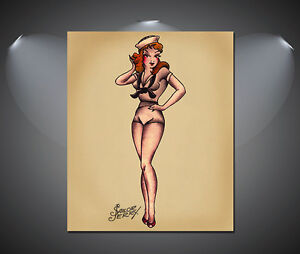 Détails sur Sailor Jerry Bleu Marine Pin Up Girl tatouage vintage grand  poster,A1, A2, A3, A4 Tailles, afficher le titre d\u0027origine