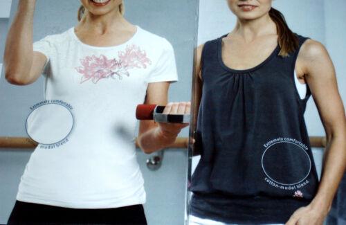 2er Pack Damen WELLNESS SHIRT Gr.S M L 2x Fitnessshirt Shirt+Top weiß+braun NEU