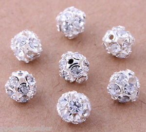 50-pcs-Silver-Plated-Rhinestone-Pave-Spacer-Beads-Charms-Jewelry-Findings-8mm