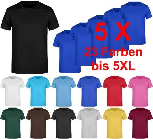 5er Pack Herren T-Shirt zum besticken bedrucken Basic Shirt bis XXXXXL  5XL