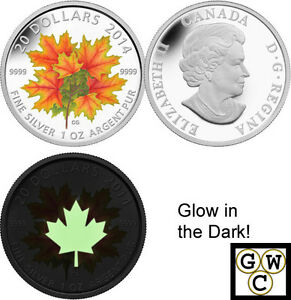 2014-Glow-in-the-dark-Maple-Leaves-Colored-Proof-20-Silver-Coin-9999-14075-NT