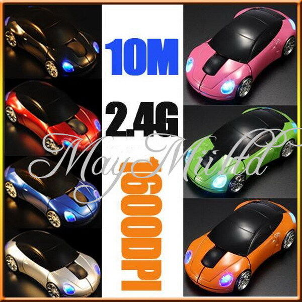 1600DPI 3D Car Shape 2.4G Wireless Optical Mouse USB Receiver PC laptop WIN7 H