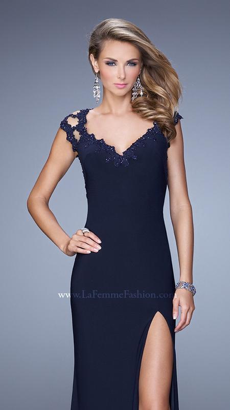 378 NWOT NAVY blueE LA FEMME PROM PAGEANT FORMAL DRESS GOWN SIZE 6