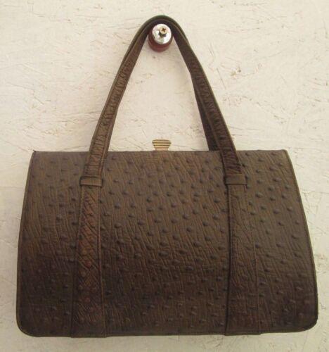 672a33a4ae Magnifique En Sac Main Véritable Vintage Cuir À D'autruche Bag rRr7x1