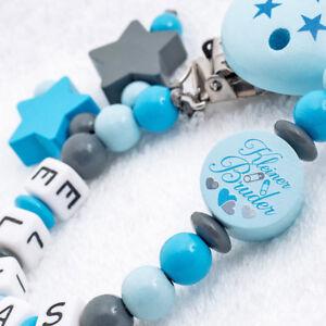 Schnullerkette-mit-Namen-kleiner-Bruder-Junge-Nuckelkette-Babygeschenk-blau-grau