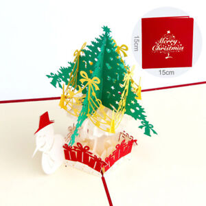 10pcs-3d-Pop-Up-Card-Christmas-Greeting-Cards-with-Snowman-amp-Tree