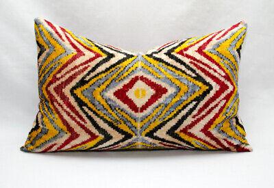 Uzbek Ethnic ikat pillow Polka dot ikat pillow cover velvet lumbar pillow cover white blue silk home decor