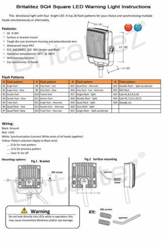 2 x SQ4 LED luce direzionale Avviso Beacon per il recupero LIGHTBAR Strobe 12//24V