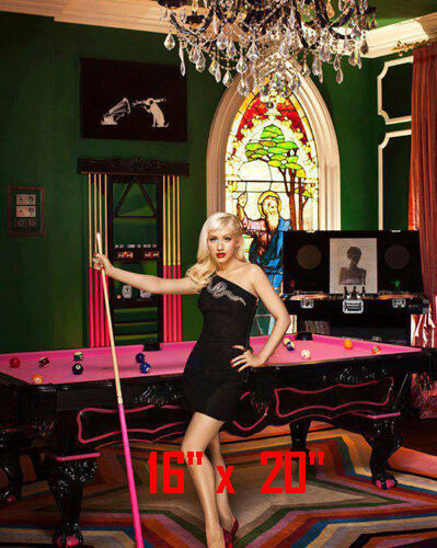 Christina Aguilera~Color~Playing Pool~Playing Billiards~Poster~16 x 20 Photo