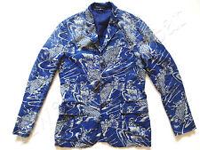 New Ralph Lauren Polo Linen Indigo Blue Koi Fish Sport Coat Jacket Slim 42 L